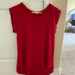 Red Chiffon Blouse with Pleated Back, Size S